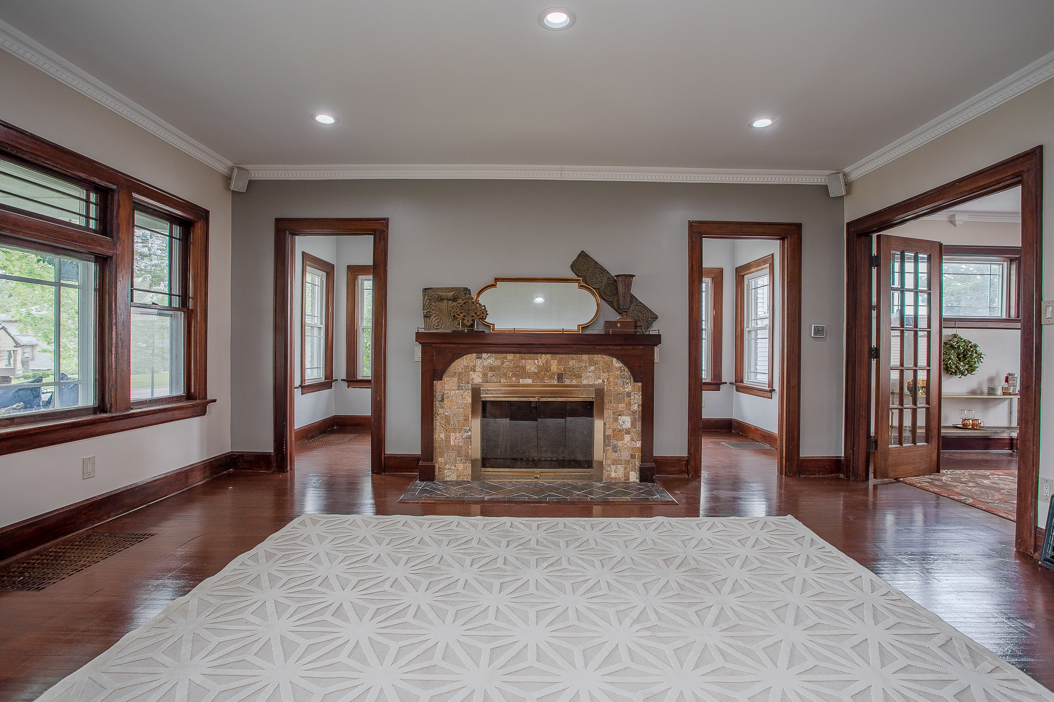 fireplace doors to reading room