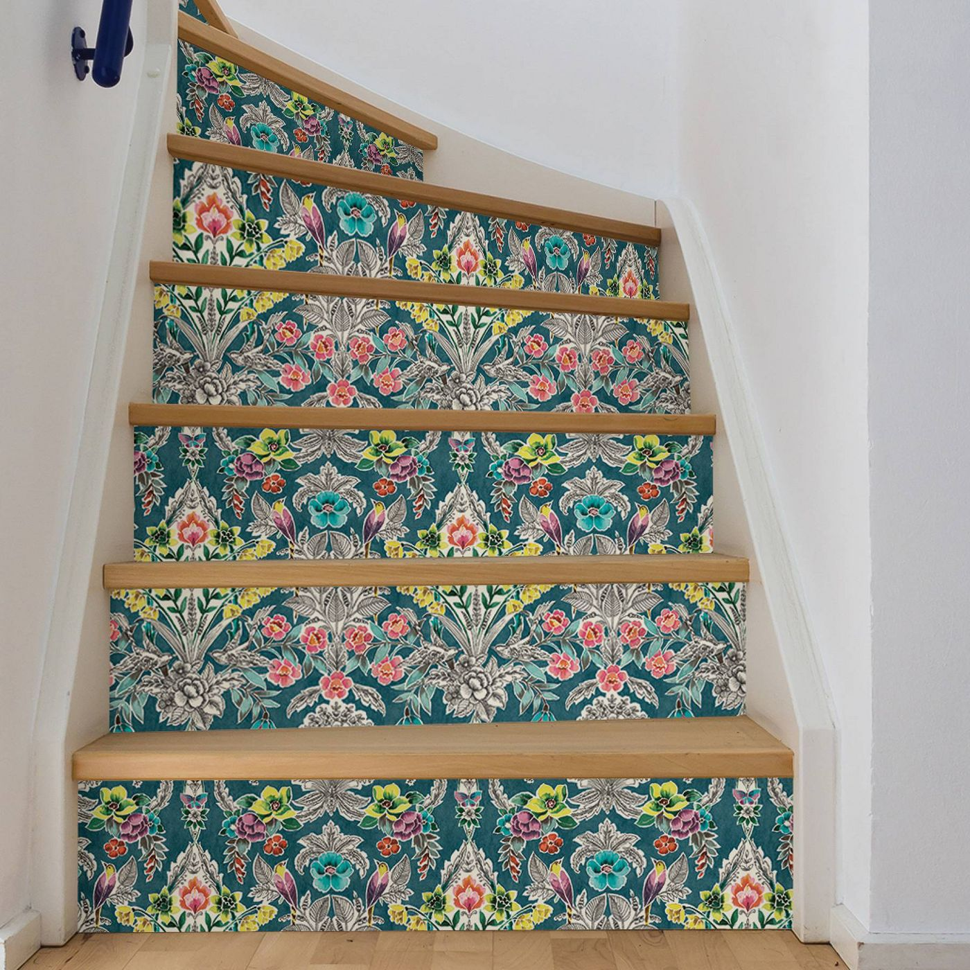 wallpapered staircase