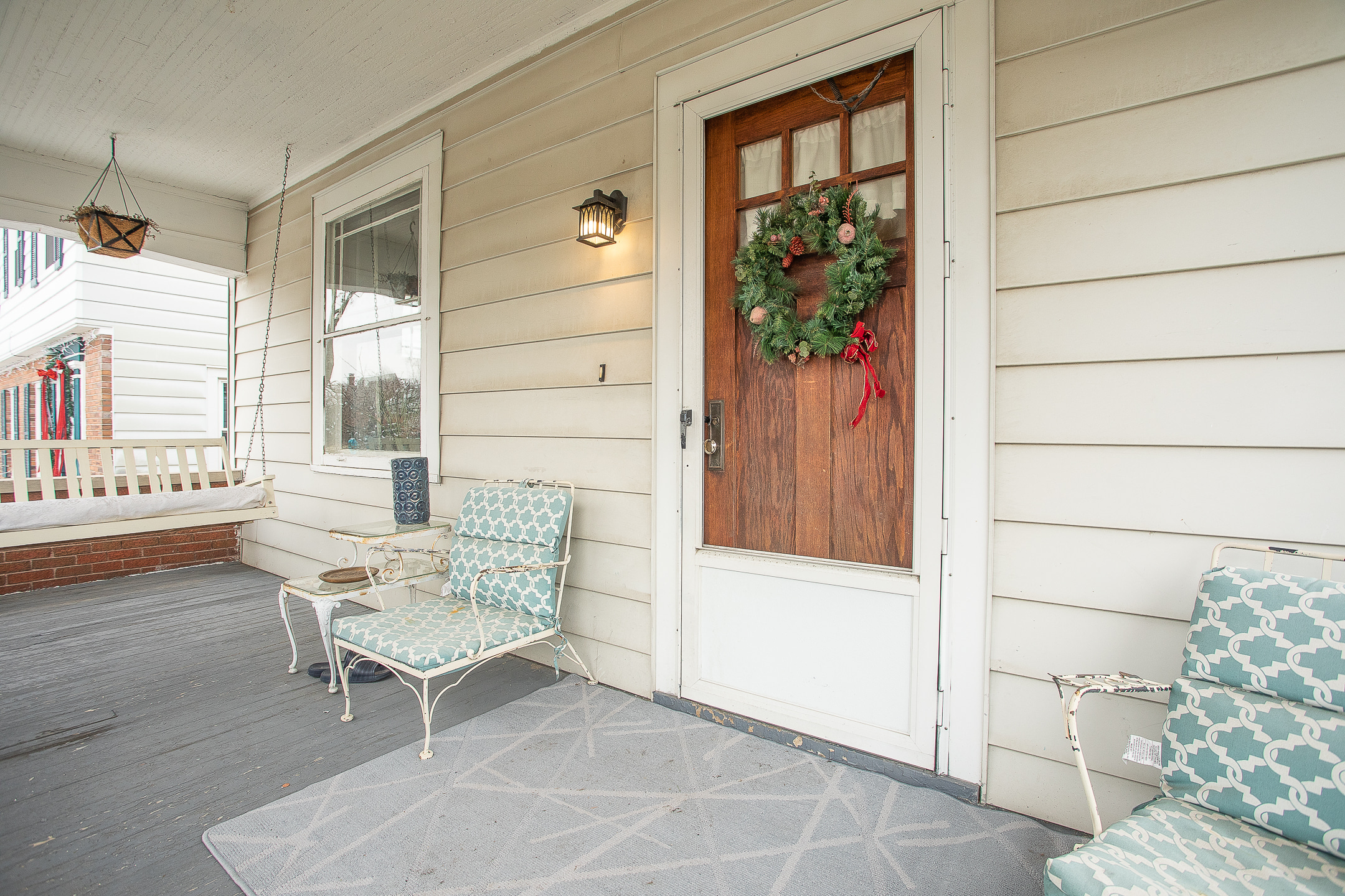 Christmas wreath front porch