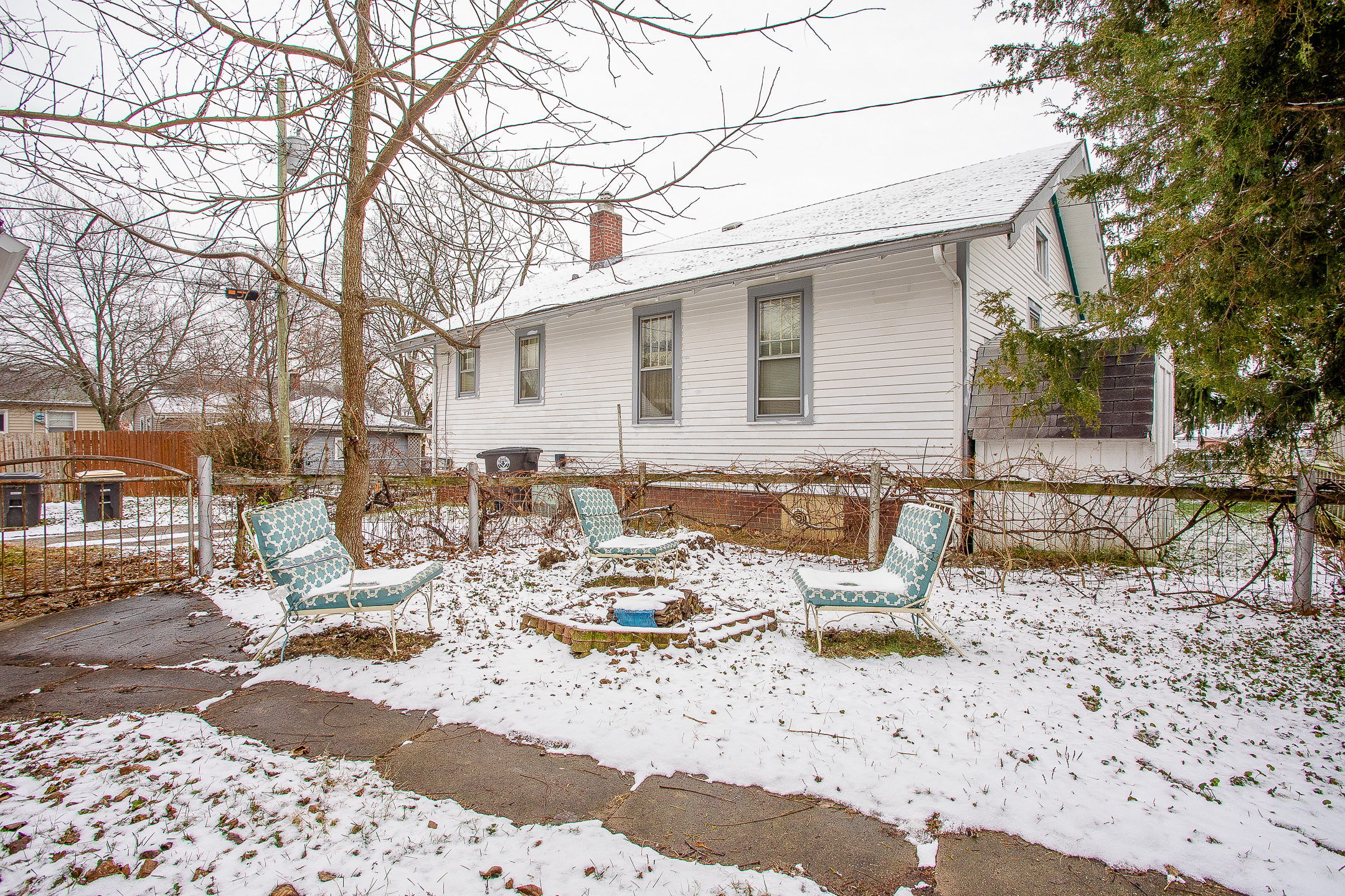 lawn chairs in snow