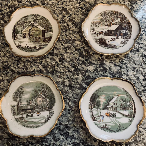 currier & ives plate set all
