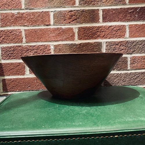 mid-century wooden serving bowl front